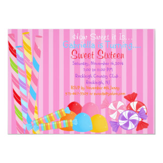 Pink Colorful Lots of Candy Sweet 16 Invitation