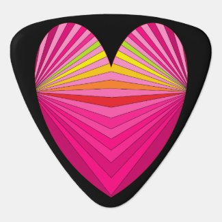 Pink Colorful Rainbow Heart Guitar Pick 2