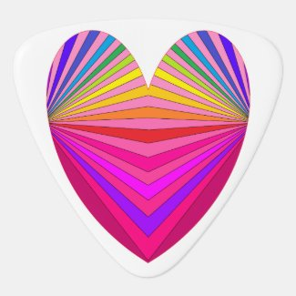 Pink Colorful Rainbow Heart Guitar Pick 3