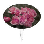 pink colorized rose bouquet Spotted background Cake Topper