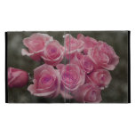 pink colorized rose bouquet Spotted background iPad Folio Covers