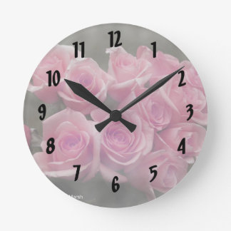 pink colorized rose bouquet Spotted background Round Wall Clock