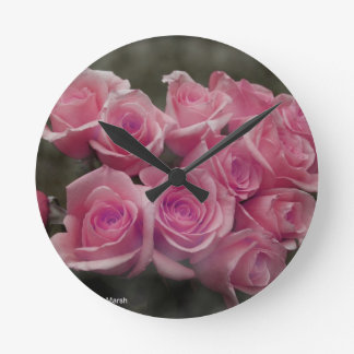 pink colorized rose bouquet Spotted background Round Clocks