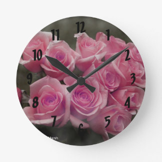 pink colorized rose bouquet Spotted background Round Clock