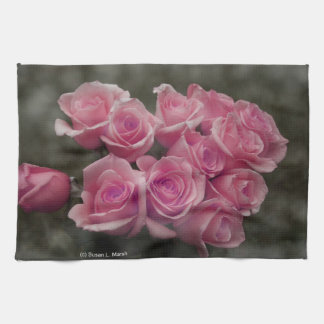 pink colorized rose bouquet Spotted background Kitchen Towel