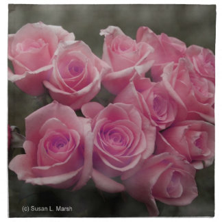 pink colorized rose bouquet Spotted background Printed Napkins