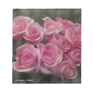 pink colorized rose bouquet Spotted background Note Pads