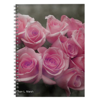 pink colorized rose bouquet Spotted background Note Book