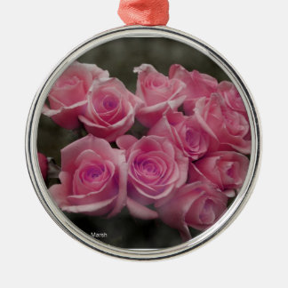 pink colorized rose bouquet Spotted background Christmas Ornaments