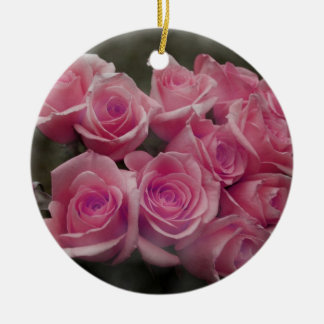 pink colorized rose bouquet Spotted background Christmas Ornament