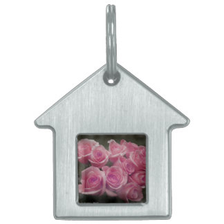 pink colorized rose bouquet Spotted background Pet Name Tag