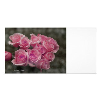 pink colorized rose bouquet Spotted background Custom Photo Card