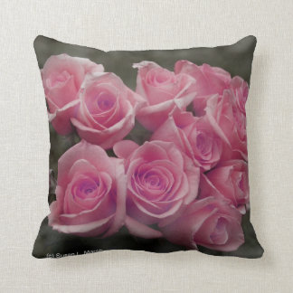 pink colorized rose bouquet Spotted background Throw Pillows
