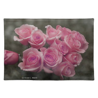 pink colorized rose bouquet Spotted background Placemats