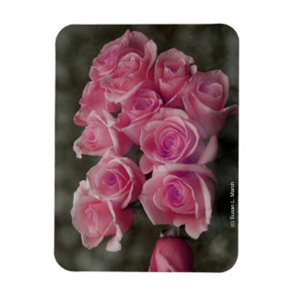 pink colorized rose bouquet Spotted background Flexible Magnet