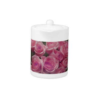 pink colorized rose bouquet Spotted background Teapot