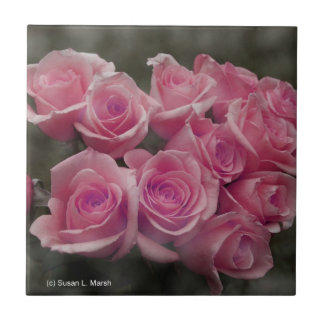 pink colorized rose bouquet Spotted background Tile