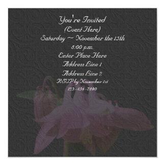 Pink Columbine Flower On Black Square Invite