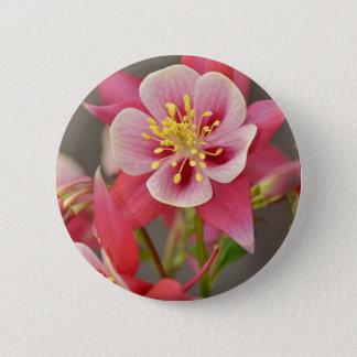 Pink columbine flower print pinback button