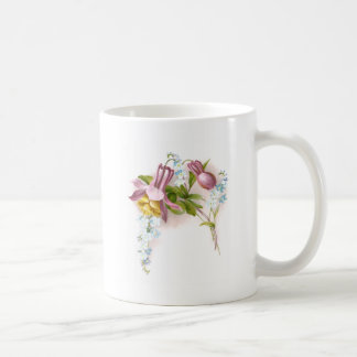 Pink Columbine Flower Victorian Trade Card Classic White Coffee Mug