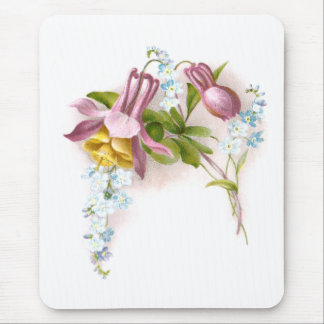 Pink Columbine Flower Victorian Trade Card Mouse Pad