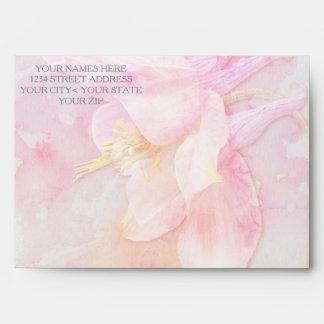 PINK COLUMBINE FLOWER WATERCOLOR SPLASH ENVELOPE