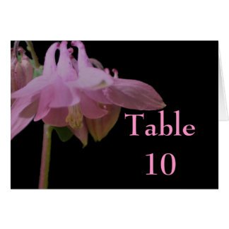 Pink Columbine Flower Wedding Table Number Card
