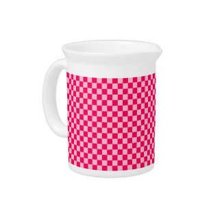 Pink Combination Classic Checkerboard by STaylor Beverage Pitcher