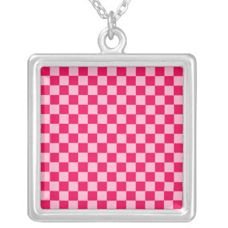 Pink Combination Classic Checkerboard by STaylor Silver Plated Necklace