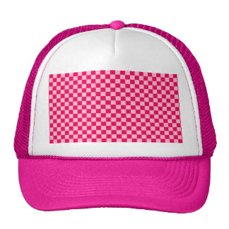 Pink Combination Classic Checkerboard Trucker Hat