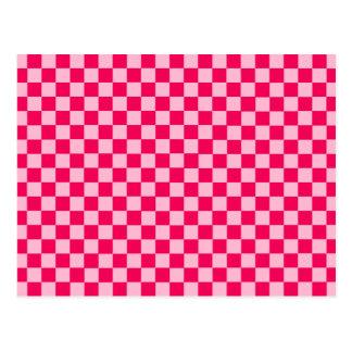 Pink Combination Classic Checkerboard Postcard