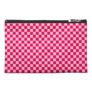 Pink Combination Diamond-Checkerboard Travel Accessory Bags