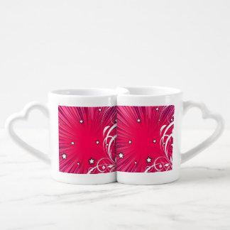Pink Comic Book Style Burst with Stars Couples Coffee Mug