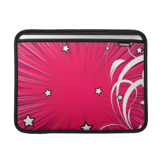 Pink Comic Book Style Burst with Stars MacBook Air Sleeves