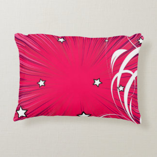 Pink Comic Book Style Burst with Stars Accent Pillow