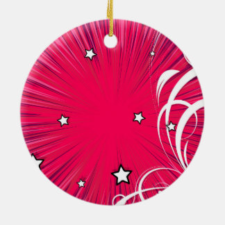 Pink Comic Book Style Burst with Stars Christmas Tree Ornaments