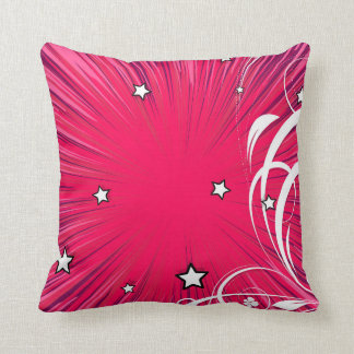 Pink Comic Book Style Burst with Stars Pillow