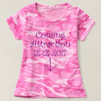 """Pink """"Coming Attraction"""" Due Date & Tummy Arrow #3 T-shirt"""