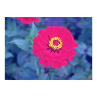 Pink Common Zinnia (Zinnia Elegans) flowers 5x7 Paper Invitation Card