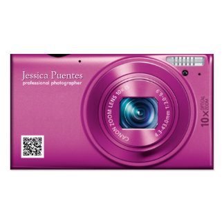 Pink Compact Camera Professional Photographer Double-Sided Standard Business Cards (Pack Of 100)