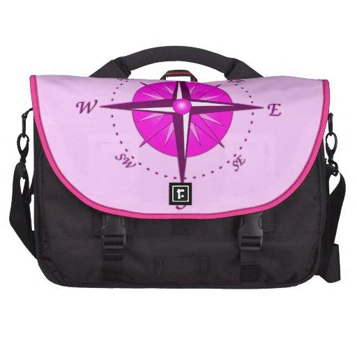 Pink Compass Rose Laptop Commuter Bag