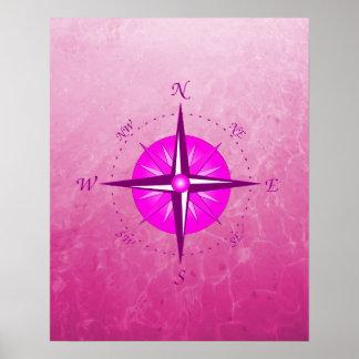 Pink Compass Rose Poster