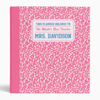Pink Composition Notebook Binder