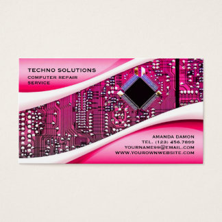 Pink Computer Repair Business Card