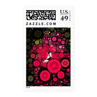 Pink Concentric Circle Pop Art Medium Postage