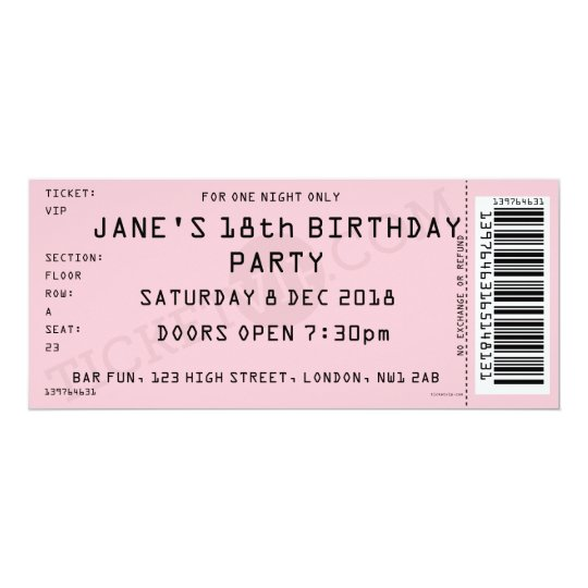 Pink concert ticket party invitation zazzle pink concert ticket party invitation filmwisefo