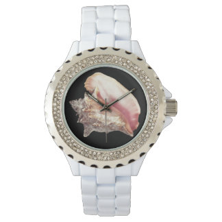 Pink Conch Shell Light Gray Tie Wristwatch