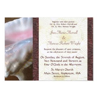 Pink Conch Shell Wedding Invitation