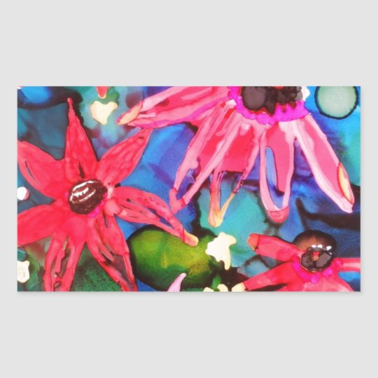 Pink Cone Flower Garden Art Rectangular Sticker