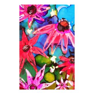 Pink Cone Flower Garden Art Stationery Design